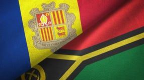 Andorra en Vanuatu twee vlaggen textieldoek, stoffentextuur royalty-vrije illustratie