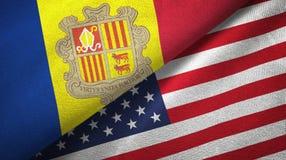 Andorra en Verenigde Staten twee vlaggen textieldoek, stoffentextuur stock illustratie