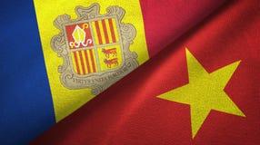 Andorra en Vietnam twee vlaggen textieldoek, stoffentextuur stock illustratie
