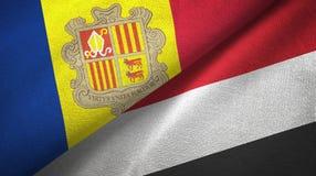 Andorra en Yemen twee vlaggen textieldoek, stoffentextuur vector illustratie