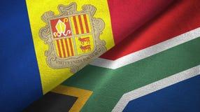 Andorra en Zuid-Afrika twee vlaggen textieldoek, stoffentextuur royalty-vrije illustratie