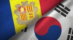 Andorra en Zuid-Korea twee vlaggen textieldoek, stoffentextuur royalty-vrije illustratie