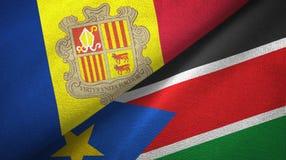 Andorra en Zuid-Soedan twee vlaggen textieldoek, stoffentextuur vector illustratie
