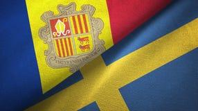 Andorra en Zweden twee vlaggen textieldoek, stoffentextuur royalty-vrije illustratie