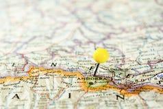 Andorra fijó en el mapa de ruta Imagen de archivo libre de regalías