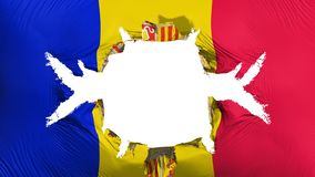 Andorra flag with a big hole. White background, 3d rendering royalty free illustration