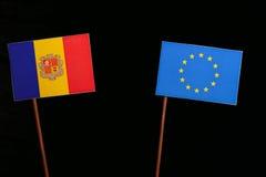 Andorra flag with European Union EU flag isolated on black. Background Stock Images