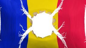 Andorra flag with a hole. White background, 3d rendering royalty free illustration