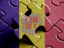 Andorra FLAG PAINTED ON PUZZLE nice Royalty Free Stock Image