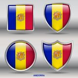 Andorra Flag in 4 shapes collection with clipping path royalty free stock photo