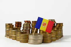 Andorra flag with stack of money coins Royalty Free Stock Photo