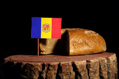 Andorra flag on a stump with bread Stock Photography