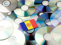 Andorra flag on top of CD and DVD pile isolated on white Royalty Free Stock Photography