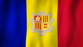 Andorra flag waving in the wind. Closeup of realistic flag with highly detailed fabric texture