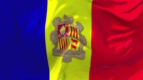 203 Andorra flaga falowanie w Wiatrowym Ciągłym Bezszwowym pętli tle ilustracji