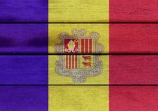 Andorra flaga na drewnie Zdjęcie Stock