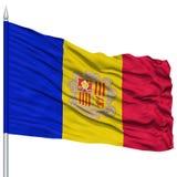 Andorra flaga na Flagpole Zdjęcia Royalty Free