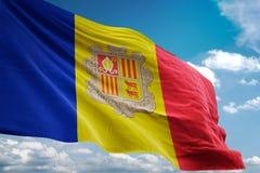 Andorra flaga państowowa falowania niebieskiego nieba tła realistyczna 3d ilustracja royalty ilustracja