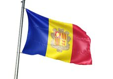 Andorra flaga państowowa falowanie odizolowywający na białego tła realistycznej 3d ilustraci ilustracja wektor