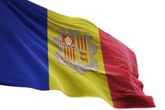 Andorra flaga państowowa falowanie odizolowywający na białej tła 3d ilustraci ilustracji