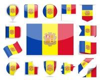 Andorra flaga wektoru set Fotografia Stock