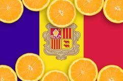 Andorra flagga i citrusfruktskivahorisontalram arkivbild