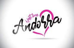 Andorra I enkel Liefdeword Tekst met Met de hand geschreven Doopvont en Roze Hartvorm royalty-vrije illustratie