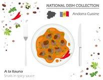 Andorra kokkonst Europeisk nationell maträttsamling Sniglar i sp vektor illustrationer