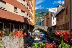 Andorra la i stadens centrum Vella Royaltyfri Fotografi