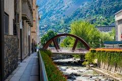 Andorra la i stadens centrum Vella arkivfoton