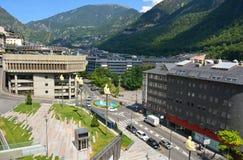 "Andorra la Vella, Andorra †""Juli, 2015 Gatasikt i Andorra la Vella Royaltyfri Fotografi"