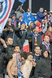 French Suporters in action at European Championship Qualifying match match between Andorra vs France , final score AND 0 - 4 FRA. Andorra La vella, Andorra stock images