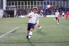 A. Griezmann in action at European Championship Qualifying match match between Andorra vs France , final score AND 0 - 4 FRA. Andorra La vella, Andorra - June 11 royalty free stock images