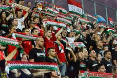 Jubilant Hungary football fans singing at Estadi Nacional. Andorra 1 - 0 Hungry Qualifiers World Cup 2018. royalty free stock photography