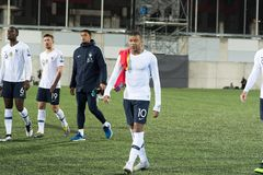M´bappe in action at European Championship Qualifying match match between Andorra vs France , final score AND 0 - 4 FRA. Andorra La vella, Andorra - June 11 stock photo