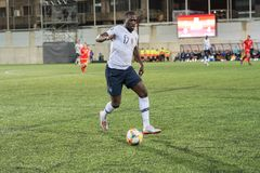 Players in action at European Championship Qualifying match match between Andorra vs France , final score AND 0 - 4 FRA. Andorra La vella, Andorra - June 11 2019 stock photography