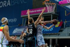 Andorra La vella, Andorra Players in action at Liga Acb Endesa match between Mora Banc Andorra BC and CB Breogan , final score 91. 87, on May 18 2019, in stock images