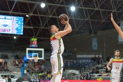 Andorra La vella, Andorra Players in action at Liga Acb Endesa match between Mora Banc Andorra BC and CB Breogan , final score 91. 87, on May 18 2019, in royalty free stock image