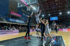 Andorra La vella, Andorra Players in action at Liga Acb Endesa match between Mora Banc Andorra BC and CB Breogan , final score 91. 87, on May 18 2019, in stock photography