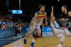 Andorra La vella, Andorra Players in action at Liga Acb Endesa match between Mora Banc Andorra BC and CB Breogan , final score 91. 87, on May 18 2019, in stock photos