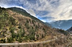 Andorra la Vella. Beautiful valley in Andorra la Vella in Winter stock photo