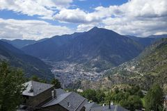 Andorra la Vella city. In a valley in the middle of Pyrenees stock image