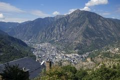 Andorra la Vella city. In a valley in the middle of Pyrenees stock images