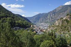 Andorra la Vella city. In a valley in the middle of Pyrenees royalty free stock photography