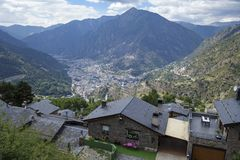Andorra la Vella city. In a valley in the middle of Pyrenees stock photography
