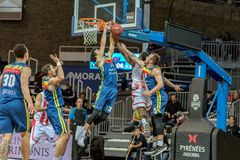 Game between Morabanc Andorra BC and Crvena Zvezda MTS Belgrado. stock image