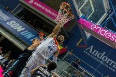 Andorra La vella, Andorra Players in action at Liga Acb Endesa match between Mora Banc Andorra BC and CB Breogan , final score 91. 87, on May 18 2019, in royalty free stock photo