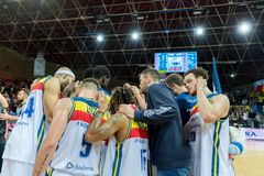 Andorra La vella, Andorra Players in action at Liga Acb Endesa match between Mora Banc Andorra BC and CB Breogan , final score 91. 87, on May 18 2019, in royalty free stock photography