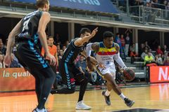 Andorra La vella, Andorra Players in action at Liga Acb Endesa match between Mora Banc Andorra BC and CB Breogan , final score 91. 87, on May 18 2019, in stock image