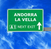 ANDORRA LA VELLA road sign against clear blue sky Stock Image